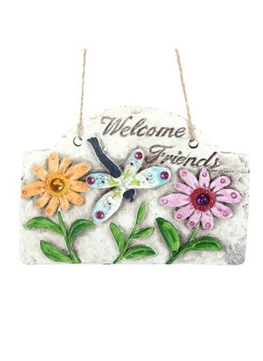 Bosphorus 15 X 15 X 2 Cm Renkli Taşlı Çiçek Desenli Welcome Friends Yazılı Asılabilir Balkon Ve Bahçe Süsü Gri